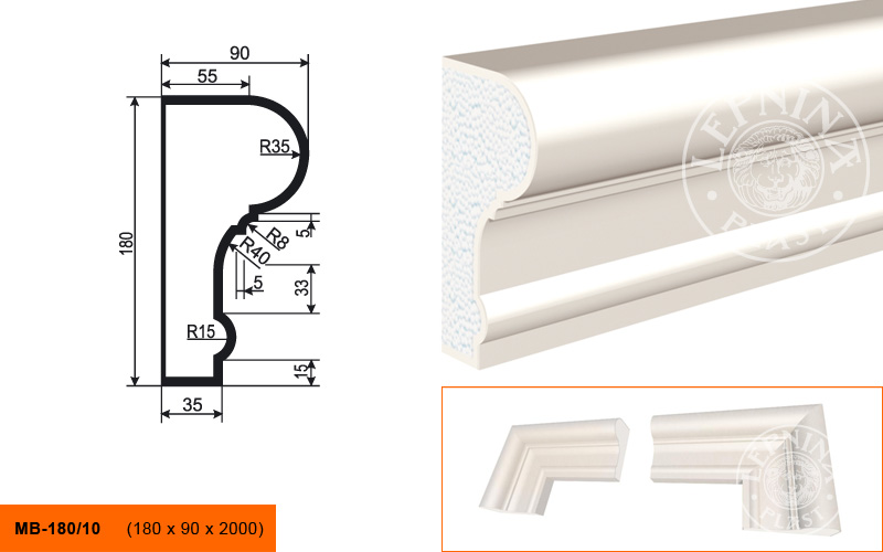 МВ-180/10 Молдинг (2000 × 180 × 90 )