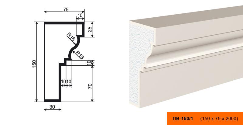 ПВ-150/1 Подоконник (2000 × 150 × 75 )