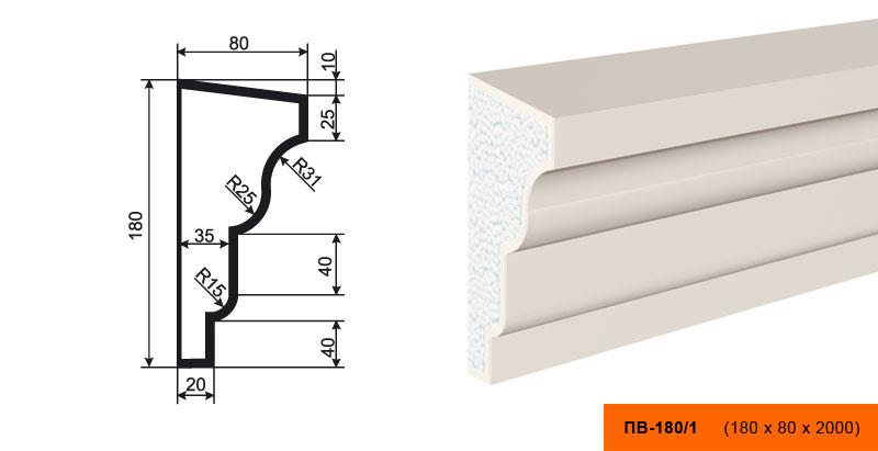 ПВ-180/1 Подоконник (2000 × 180 × 80 )